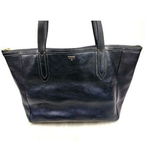 Fossil Black Leather Large Sydney Shopper Tote